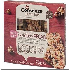 Consenza Noten-reep, cranberry pecan - 3 x 25 gram