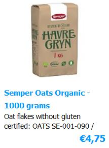 Oat flakes Organix Certified Glutenfree 1000 gram - brandname Semper from Sweden