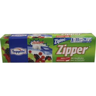 Toppits Poches avec fermeture à glissière, 1 litre, 12 pcs en boîte