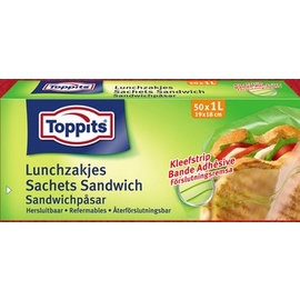 Toppits Resealable Bags Lunch 1ltr 50x