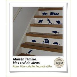 JERMA decoraties Muizen trapstickers in een kleur naar keuze.