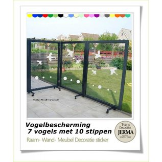 JERMA decoraties Vogelbescherming raamstickers 7 vogels en 10 stippen voor op de raam of windscherm stickers.
