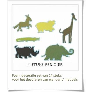 DecoKids.nl Dieren decoratie kinderkamer  3D foam decoratie set 24 stuks