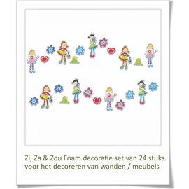 Meisjeskamer decoratie Zi, Za & Zou wanddecoratie set.