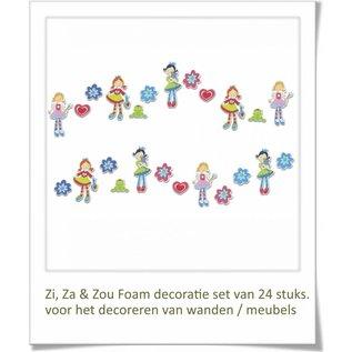 DecoKids.nl Meisjeskamer decoratie Zi, Za & Zou wanddecoratie set 24 stuks