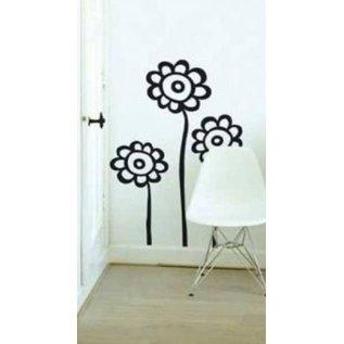 Zwarte bloemen decoratiestickers
