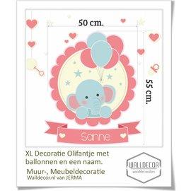 Walldecor babykamer decoratie Olifant met tros ballonnen