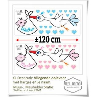 Walldecor geboorte raamsticker Ooievaar met hartjes en natuurlijk de naam van de Baby.
