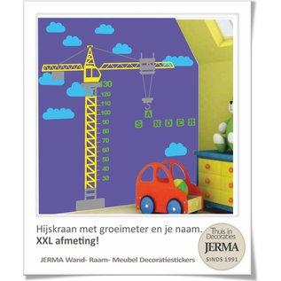 JERMA decoraties Groeimeter, Hijskraan (XXL afmeting). met je naam voor op de wand of meubels.