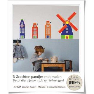 JERMA decoraties Grachtenpandjes muurstickers met Molen (set van 3 grachtenpandjes)