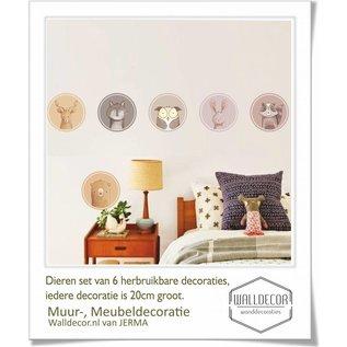 Walldecor Dieren muurdecoratie set van 6 decoraties in pastel kleuren.