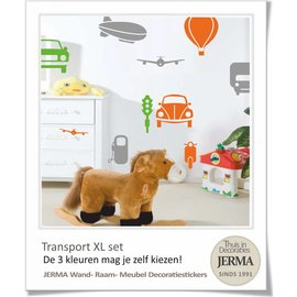 JERMA decoraties Auto muurstickers kinderkamer vervoer thema XL set.