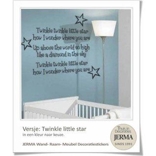 JERMA decoraties Muurtekst babykamer : Twinkle little star met 3 sterren voor op de wand of meubels.