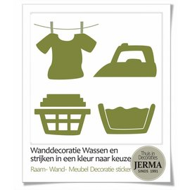 JERMA decoraties Wasgoed symbolen stickers set van 4