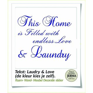 JERMA decoraties Laundry tekst muurstickers : This Home is Filled with love & Landry