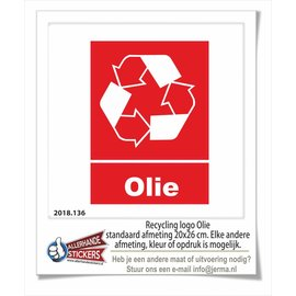 Allerhandestickers.nl Olie recycling logo sticker