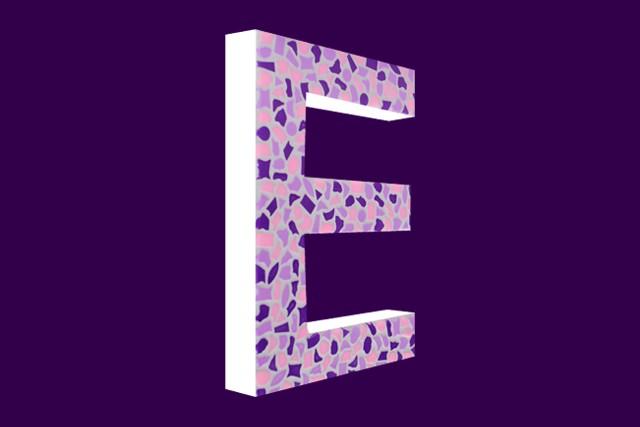 Mozaiekpakket Letter E Zacht