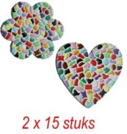 Hart/bloem 2x15 stuks mozaiekpakket