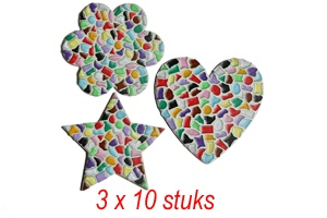 Hart/bloem/ster 3x10 stuks mozaiekpakket