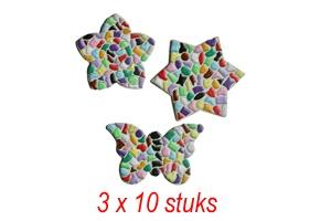 Cristallo Bloem/ster/vlinder 3x10 stuks mozaiekpakket