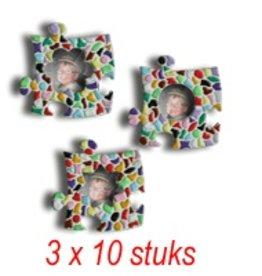 Mini-fotolijstjes 3x10 stuks mozaiekpakket MIX