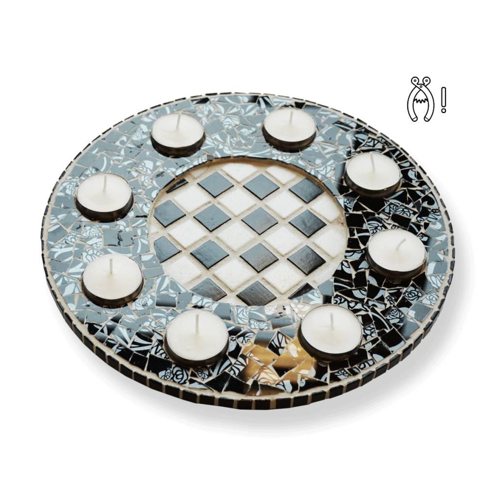 Cristallo Waxinelichthouder Luxe Qringle zwart-wit