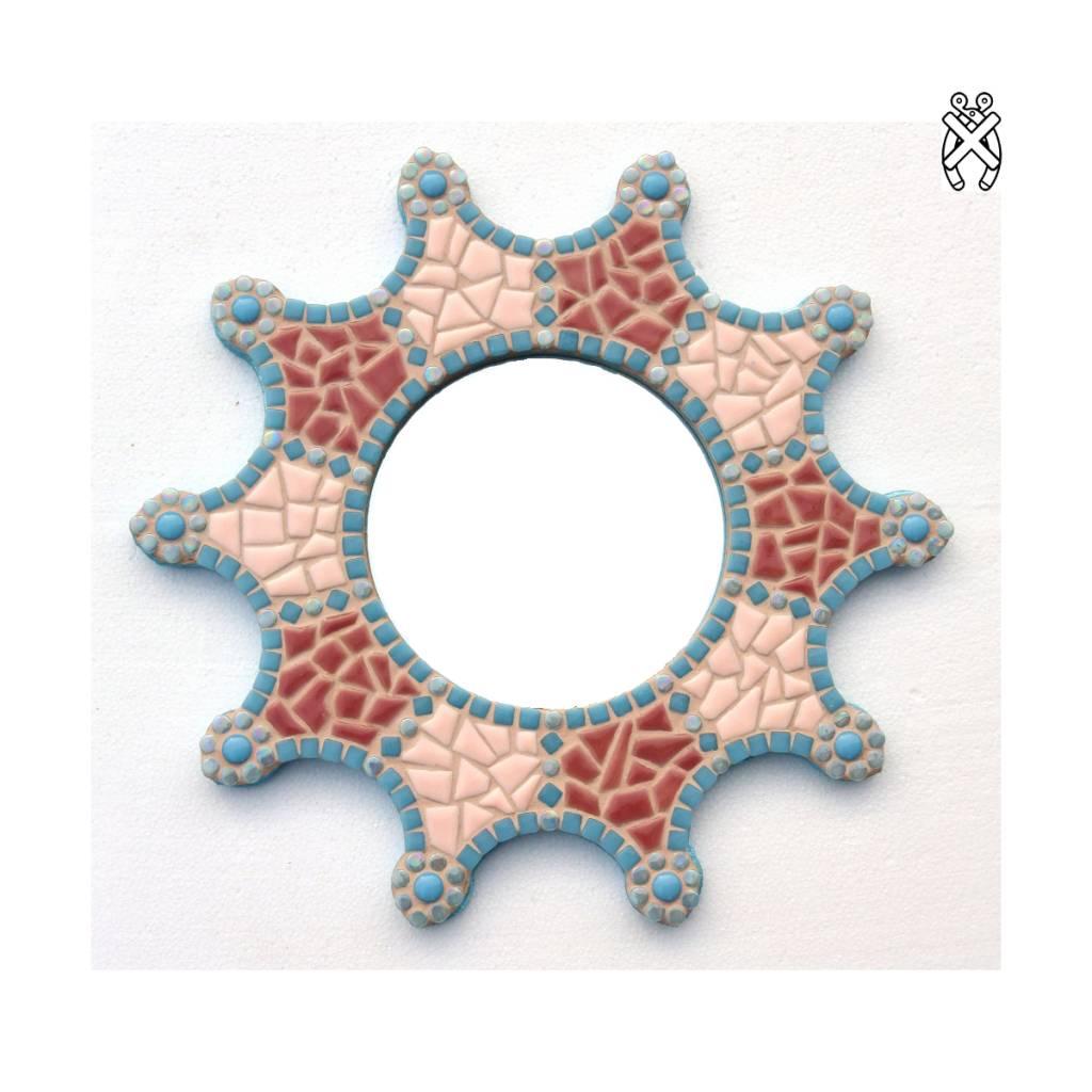 Mozaiek spiegel Sun aqua-roze-peach