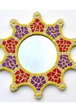 Mozaiek spiegel Sun geel-rood-paars