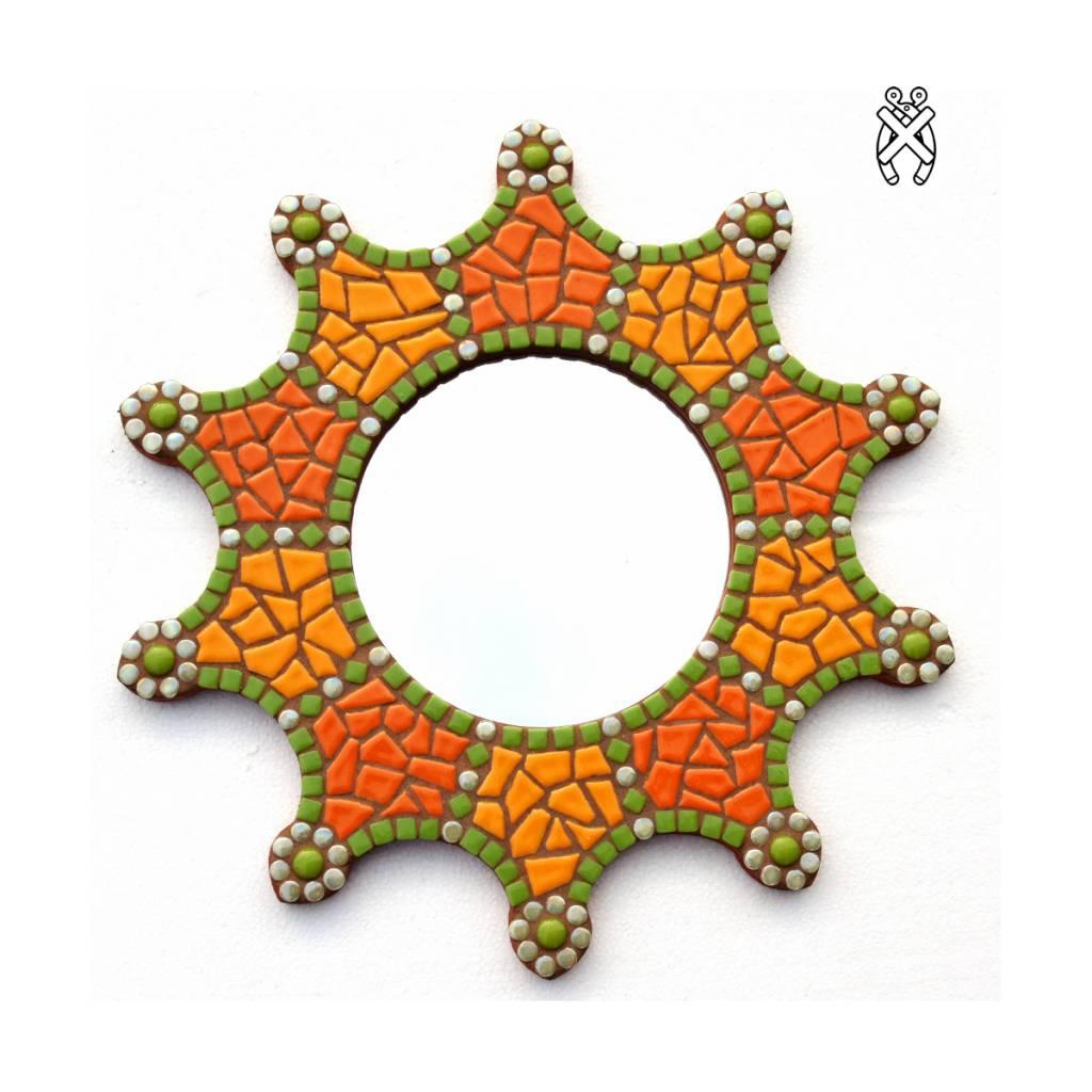 Mozaiek spiegel Sun groen-oranje-curry