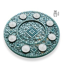 Mozaiek waxinelichthouder Luxe Rondo Turquoise