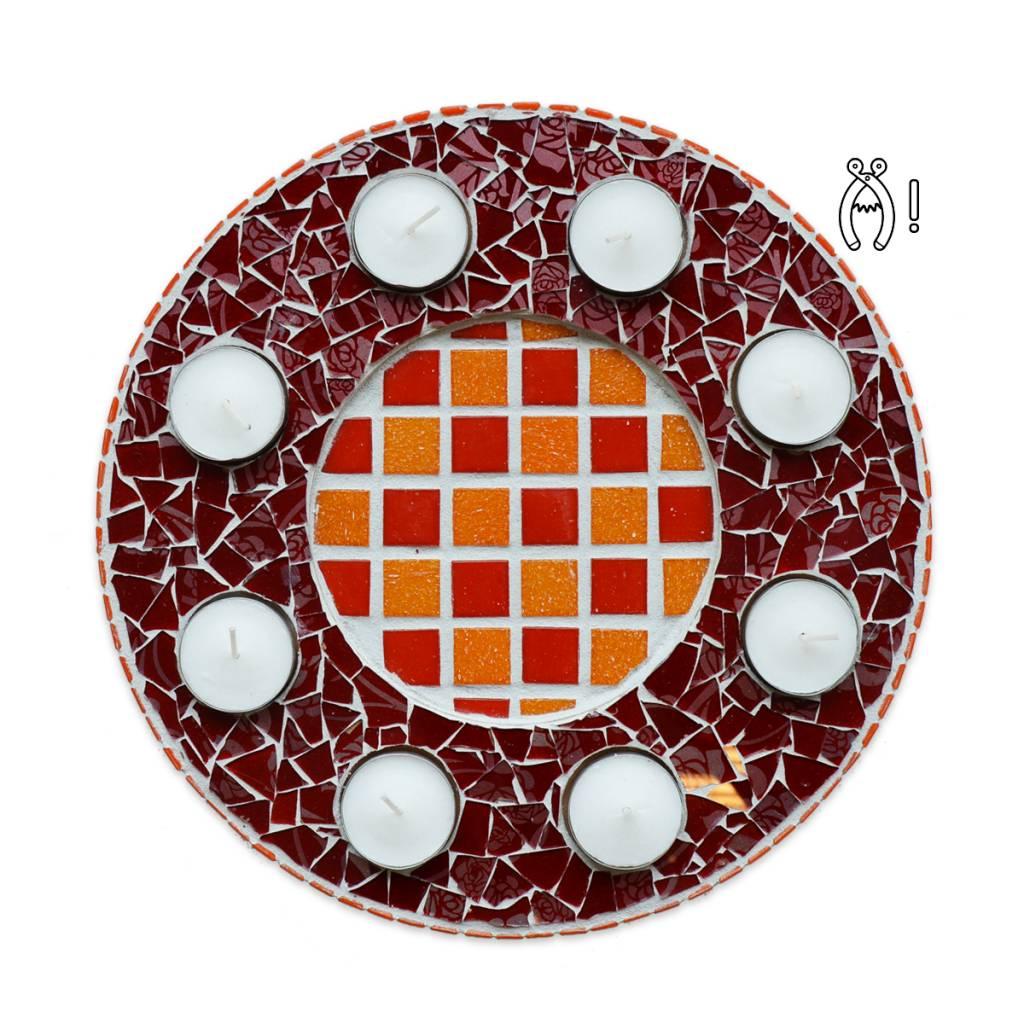 Cristallo Waxinelichthouder Luxe Qringle oranje-rood