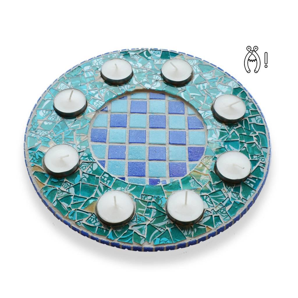Cristallo Waxinelichthouder Luxe Qringle blauw-lichtblauw