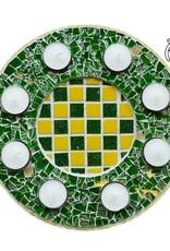 Cristallo Waxinelichthouder Luxe Qringle groen-geel