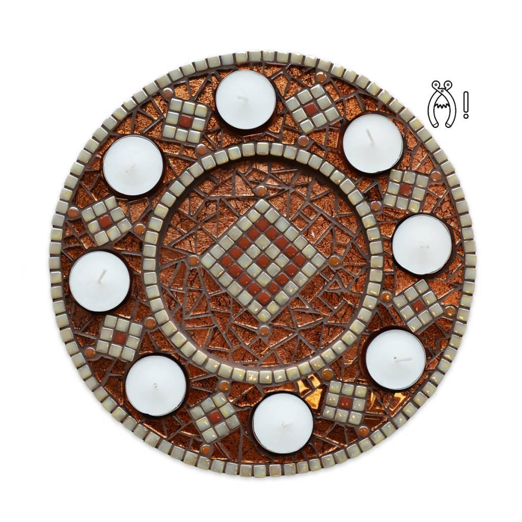Mozaiek waxinelichthouder Luxe Rondo Bruin