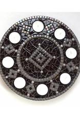 Mozaiek waxinelichthouder Luxe Rondo Zwart