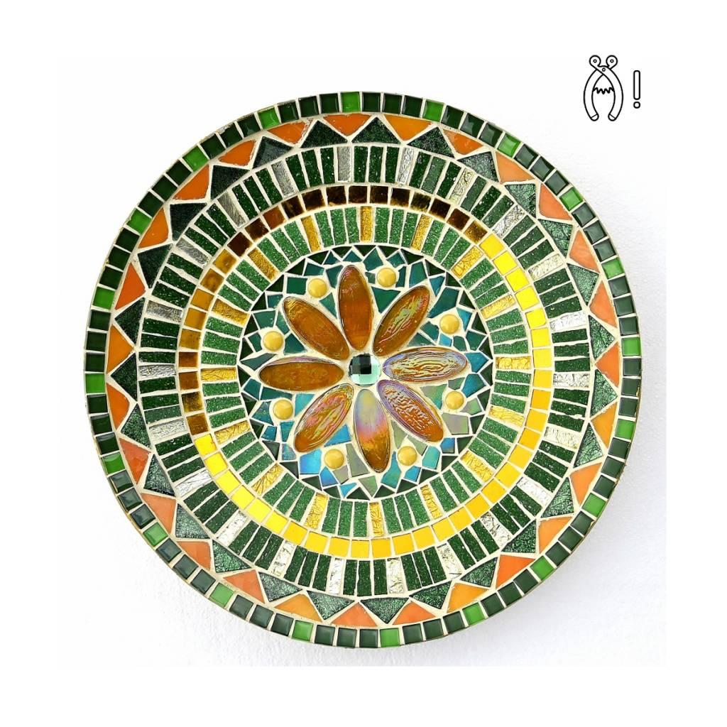 Mozaiek schaal Bloem groen-goudgeel