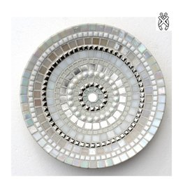 Mozaiek schaal Glorie zilver-wit