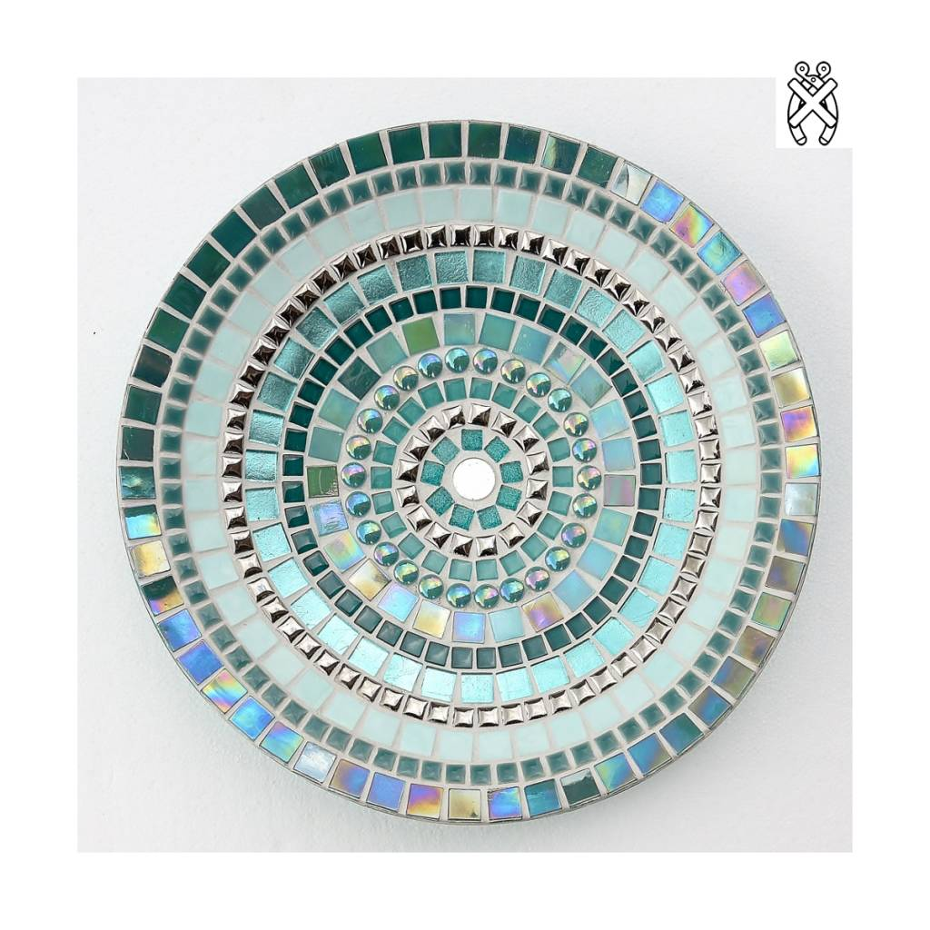 Mozaiek schaal Glorie zilver-turquoise
