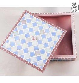 Sieradenkistje mozaiek pakket Fiesta Wit/Blauw