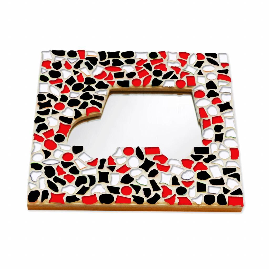 Mozaiek pakket Spiegel DeLuxe Auto Rood-Zwart-Wit