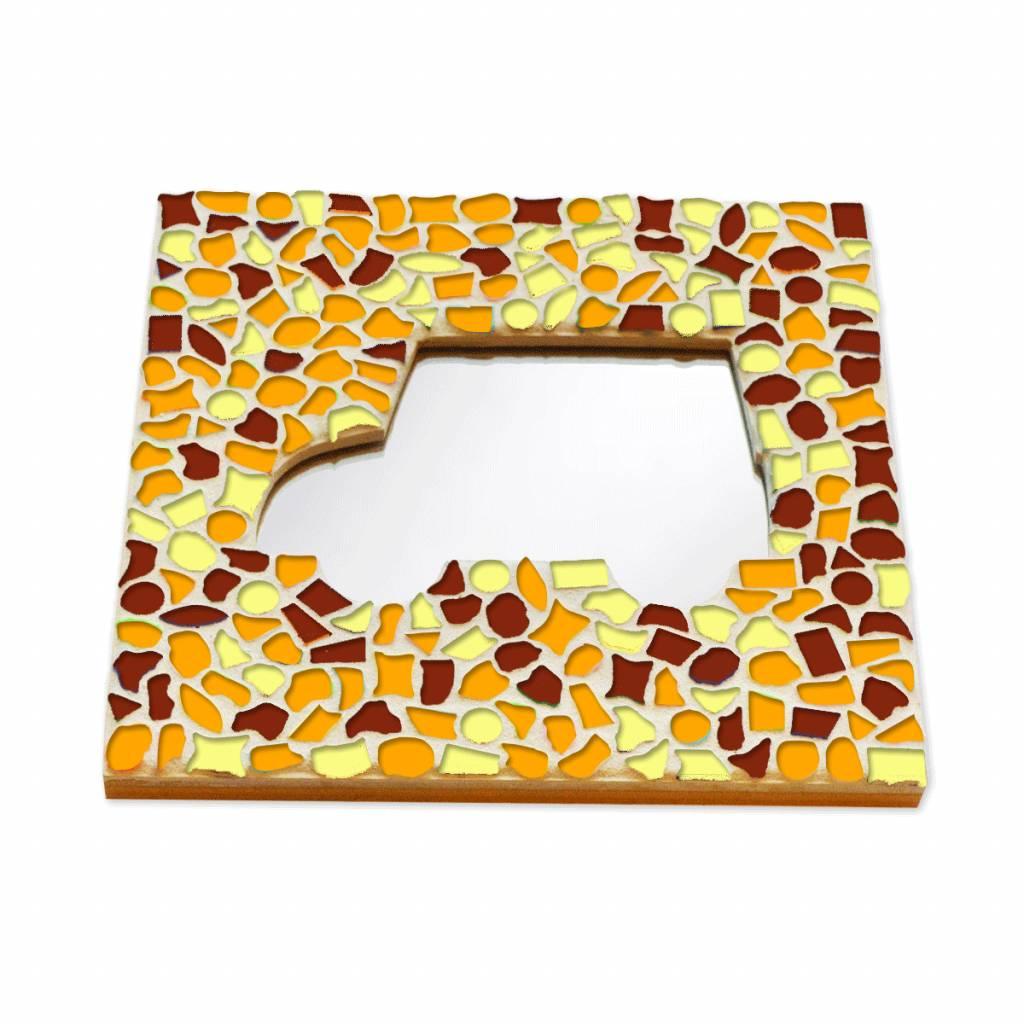 Mozaiek pakket Spiegel DeLuxe Auto Bruin-Oranje-Geel
