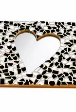 Mozaiek pakket Spiegel DeLuxe Hart Zwart-Wit