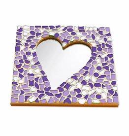 Cristallo Mozaiek pakket Spiegel DeLuxe Hart Wit-Paars-Violet