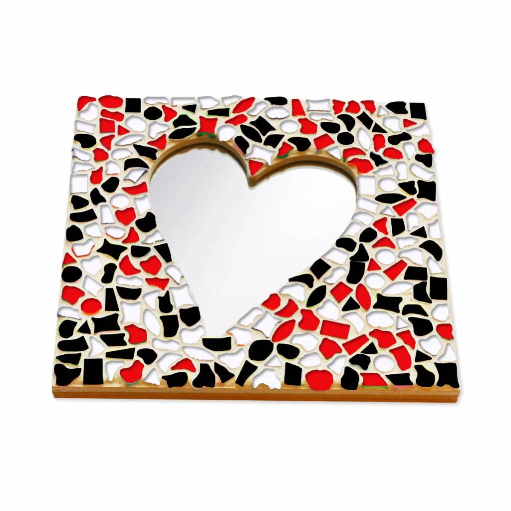 Mozaiek pakket Spiegel DeLuxe Hart Rood-Zwart-Wit