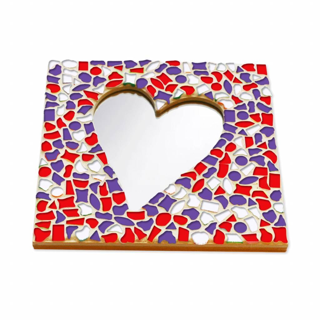 Mozaiek pakket Spiegel DeLuxe Hart Rood-Wit-Paars