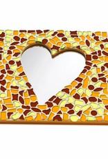 Cristallo Mozaiek pakket Spiegel DeLuxe Hart Bruin-Oranje-Geel