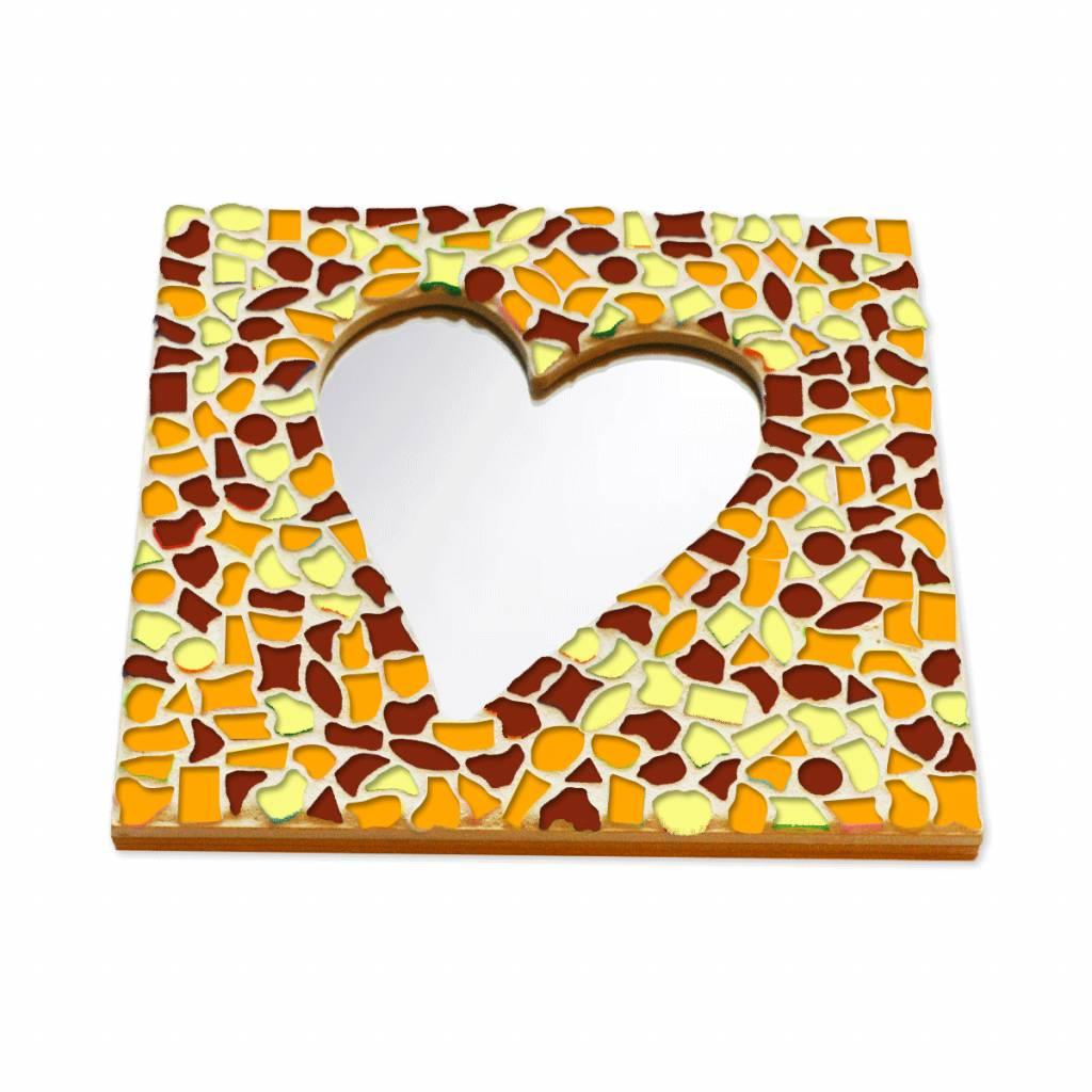 Mozaiek pakket Spiegel DeLuxe Hart Bruin-Oranje-Geel