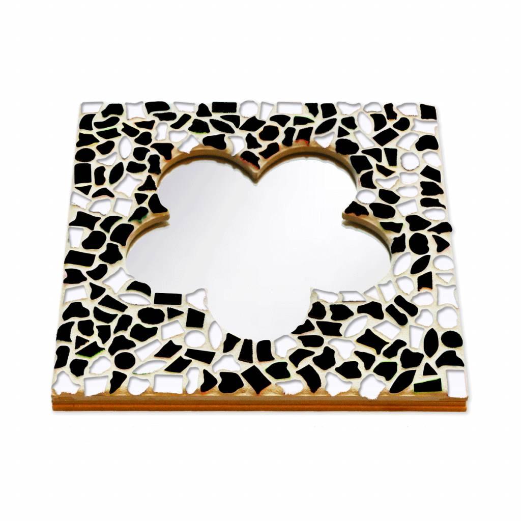 Cristallo Mozaiek pakket Spiegel DeLuxe Bloem Zwart-Wit
