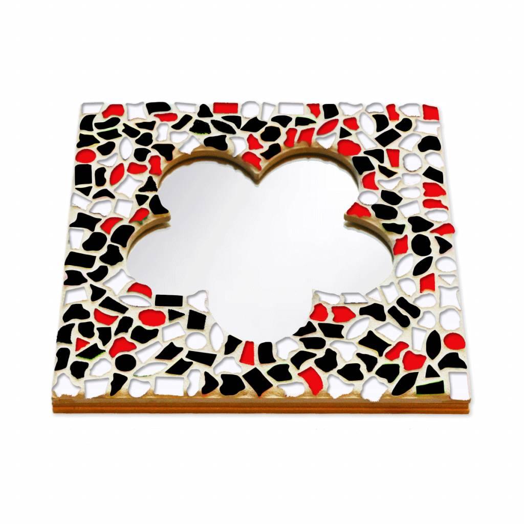 Cristallo Mozaiek pakket Spiegel DeLuxe Bloem Rood-Zwart-Wit
