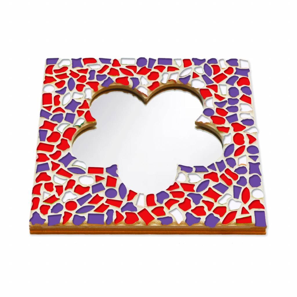 Cristallo Mozaiek pakket Spiegel DeLuxe Bloem Rood-Wit-Paars